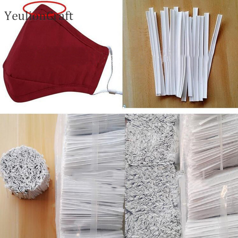YeulionCraft 300Pcs Adjustable Nose Clips Elastic Mask Band For Mouth Face Mask Elastic Cord Rubber Band Diy Protective Clothes