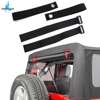 WISENGEAR For Jeep Wrangler JK 4 Pcs Durable Tie Down Straps Soft Top Straps Secure Fasteners Car Snaps Belt 2007-2018 image