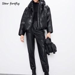 Ster Firefly Herfst New Fashion Za Lederen Jas Vrouwen 2019 Toevallige Losse Solid Hooded Imitatie Leer Pu Katoenen Jas Vrouwelijke