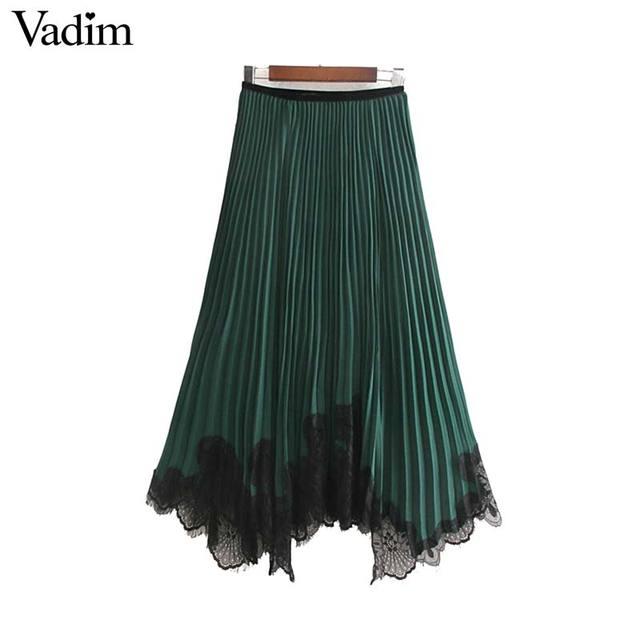 Vadim mujeres chic encaje patchwork chifón Falda plisada cintura elástica irregular diseño femenino casual verde faldas midi BA819