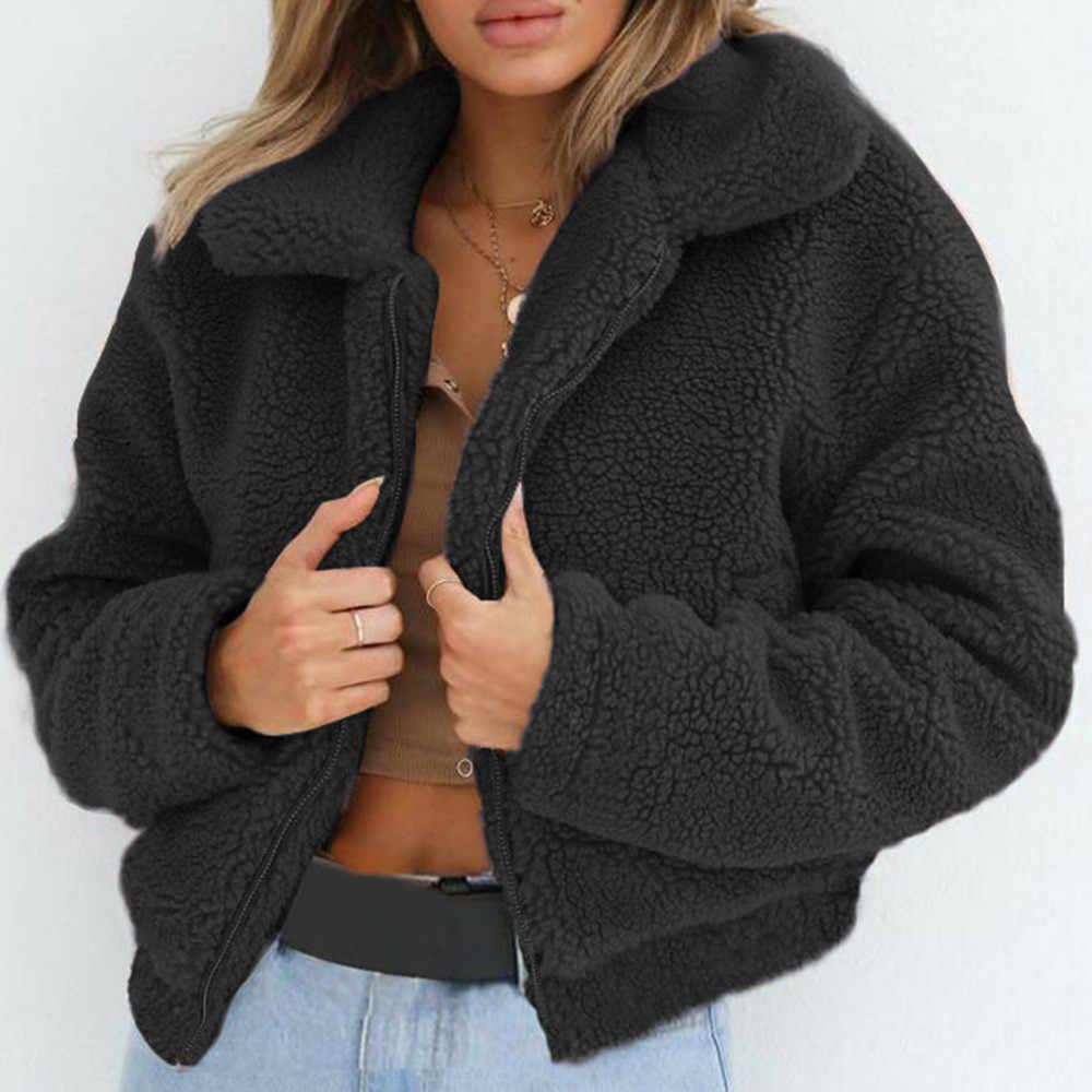 חורף חם צמר מלאכותי מעיל נשים מוצק תורו למטה צווארון רוכסן צמר מעיל נשי חורף Parka הלבשה עליונה מעיל Casaco