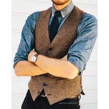Коричневый шерстяной твидовый жилет с узором в елочку, тонкий мужской костюм, жилеты на заказ, пиджак без рукавов, Мужская одежда, свадебный жилет