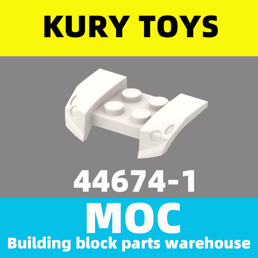 Kury Toys DIY MOC For 44674 Building Block Parts For Vehicle, Mudguard 2 X 4 With Headlights Overhang For Vehicle-Land