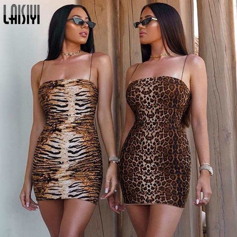 LAISIYI Leopard Tiger Print Spaghetti Strap Sexy Pencil Mini Dress Women Sleeveless Summer Autumn Party Club Vestidos ASDR22663