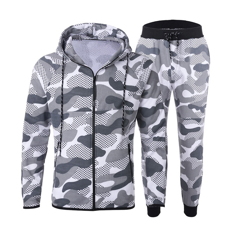 LITTHING 2020 Men Causal Camouflage Print Sets Camo Jacket+Pants 2Pc Tracksuit Sportwear Hoodies Sweatshirt &Pant Suit Plus Size