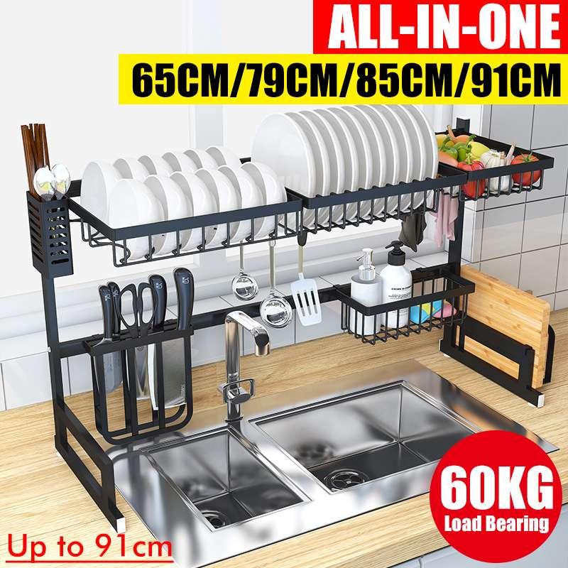 رف لتجفيف الأطباق فوق المغسلة مستلزمات المطبخ تخزين الرف سطح المكتب الفضاء التوقف عرض موقف أدوات المائدة تجفيف المنظم