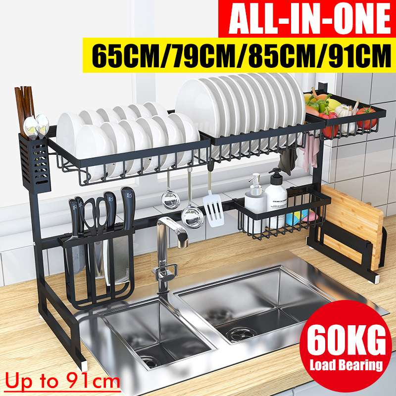Dish Drying Rack Over The Sink Kitchen Supplies Storage Shelf Counter-top Space Saver Display Stand Tableware Drainer Organizer