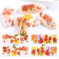1 stücke Goldene Ahornblatt Aufkleber Für Nägel Bunte Blätter Nail art Aufkleber Wasserzeichen Wasser Transfer Maniküre Wraps SAA1201-1212-1