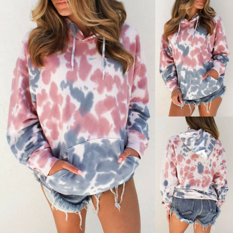 Hirigin Autumn Women Oversized Tie Dyeing Hoodie Sweatshirt Hooded Coat Fashion Basic Classic Pullover Jumper Tops