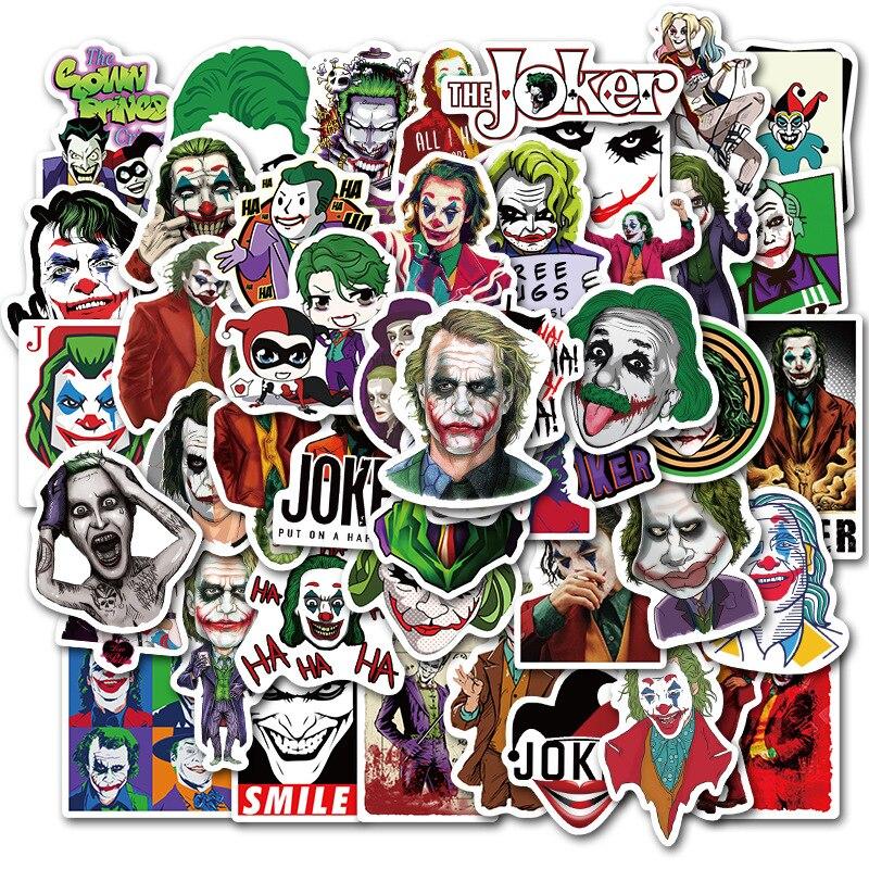 50Pcs The Joker Anime Stickers Cartoon Movie Clown Style Sticker for Laptop Refrigerator Office Guitar Skateboard PVC Waterproof