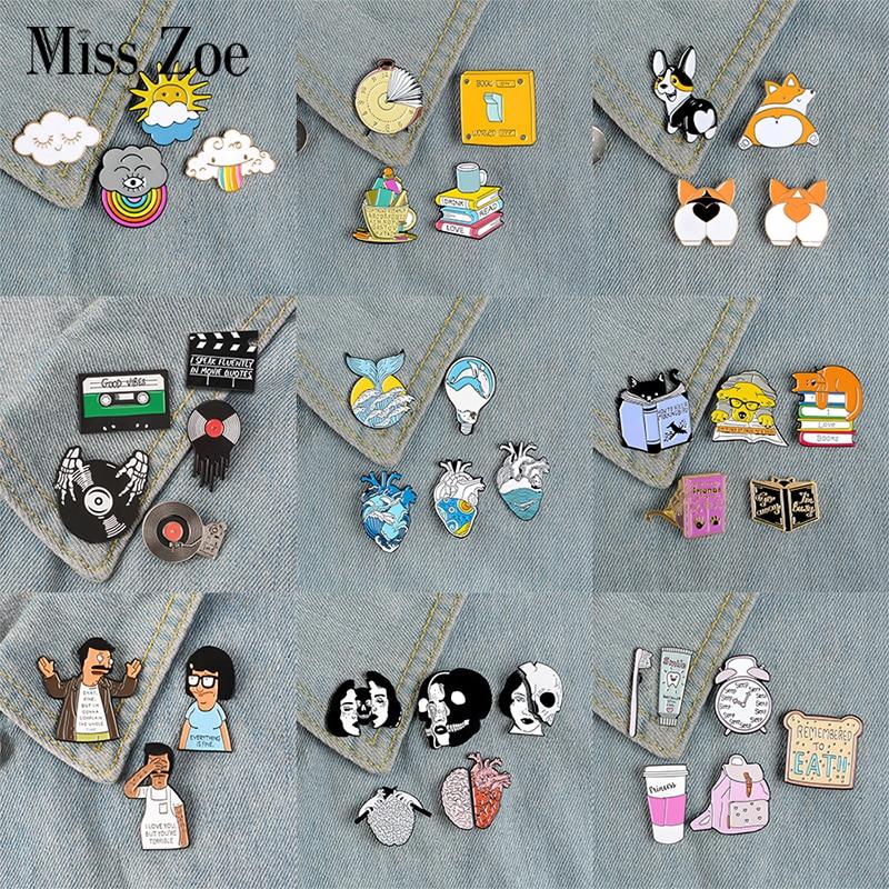 3~6pcs/set Mixed theme Enamel Pin Cat Dog Book Read Ocean Wave Heart Brain Mermaid Custom Brooch Lapel Pin Badge Cartoon Jewelry 1