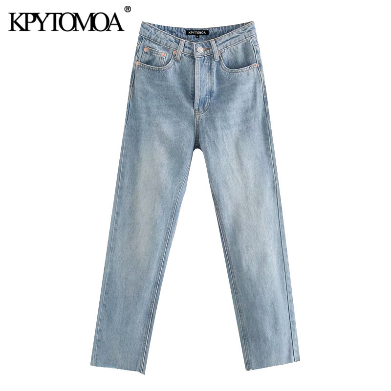 KPYTOMOA Women 2020 Chic Fashion High Waist Straight Jeans Vintage Buttons Fly Pockets Denim Pants Female Ankle Trousers Jean