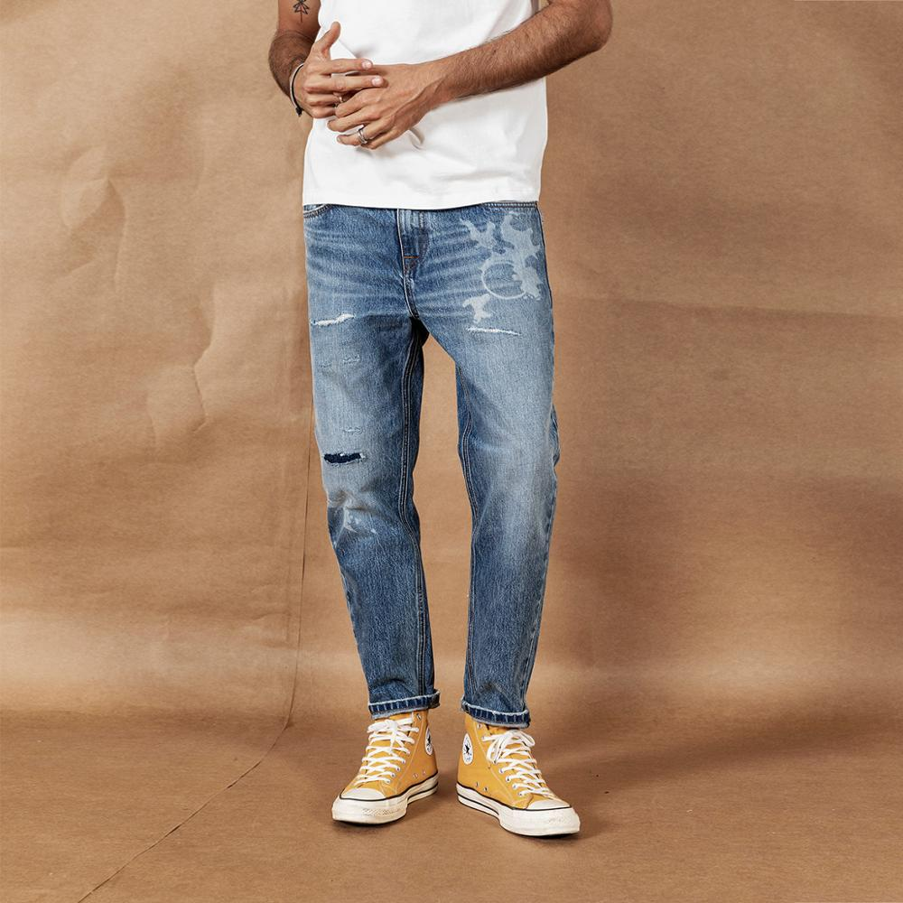 SIMWOOD 2020 Spring Summer New Ripped Jeans Men Laser Printing Ankle-length Jeans Loose Tapered Hole Denim Trousers 190392