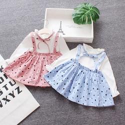 Dot infantil da criança meninas vestido 0-2 anos de idade vestido de bebê primavera algodão pequena criança vestido de princesa bebê menina vestidos de queda roupas