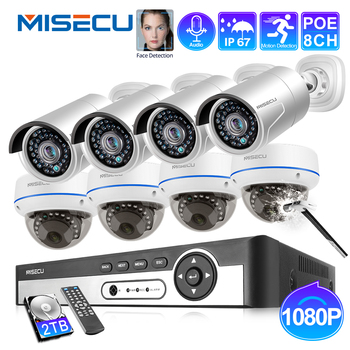 MISECU 8CH 1080P POE NVR Kit Security CCTV System Outdoor Indoor Audio Record IP Camera Waterproof P2P Video Surveillance Set 4ch 8ch 1080p full hd nvr kit poe cctv system with 2 0mp outdoor ip camera poe waterproof p2p onvif security surveillance set