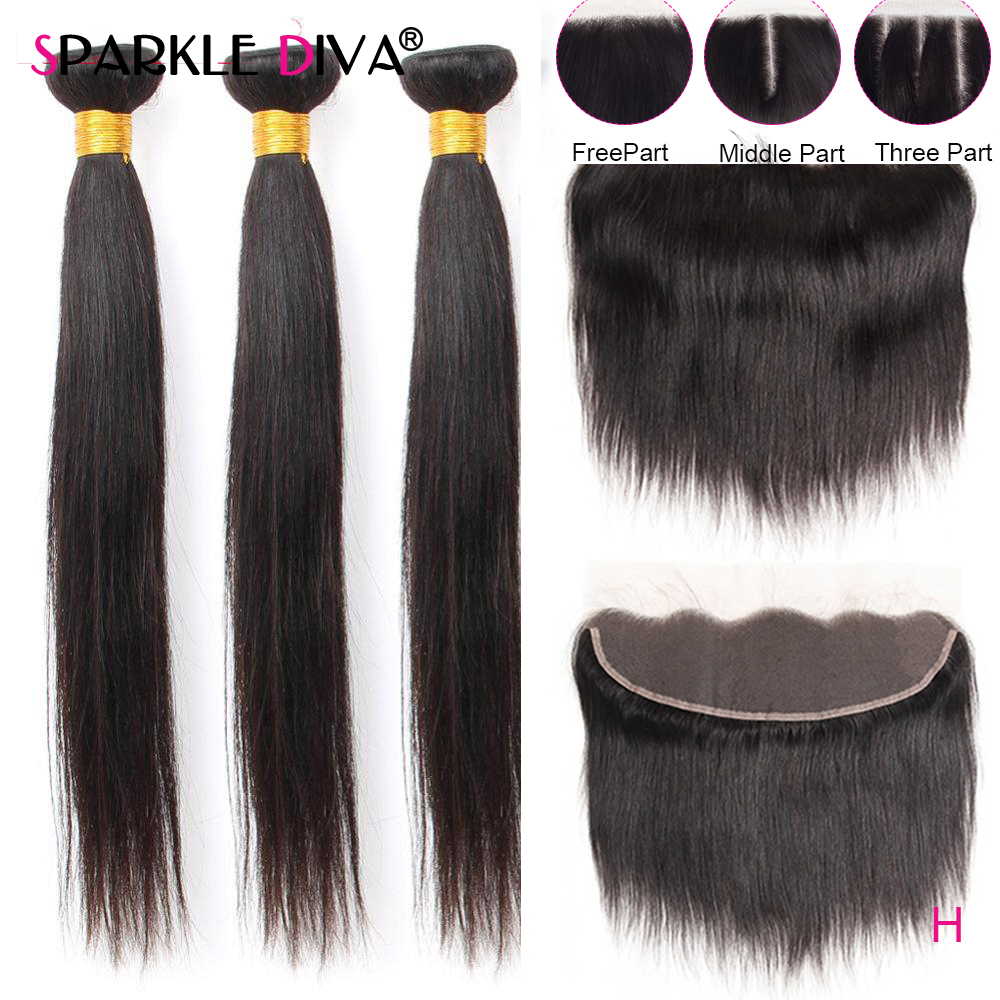 Peruvian Straight Human Hair 3 Bundles With 13x4 Frontal Closure Pre Plucked Remy Human Hair Weave Bundles With Frontal Closure