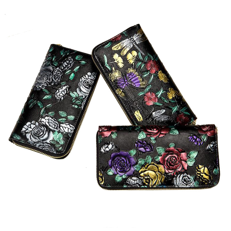 Western Rose Print Many Card Holder Women Long Wallet Fashion Flower Carved Iphone Coin Purse