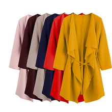 Women Long Sleeve Front Open Casual Suit Jacket Trench Coat Jacket Cardigan US dark grey open front lapel collar trench coat