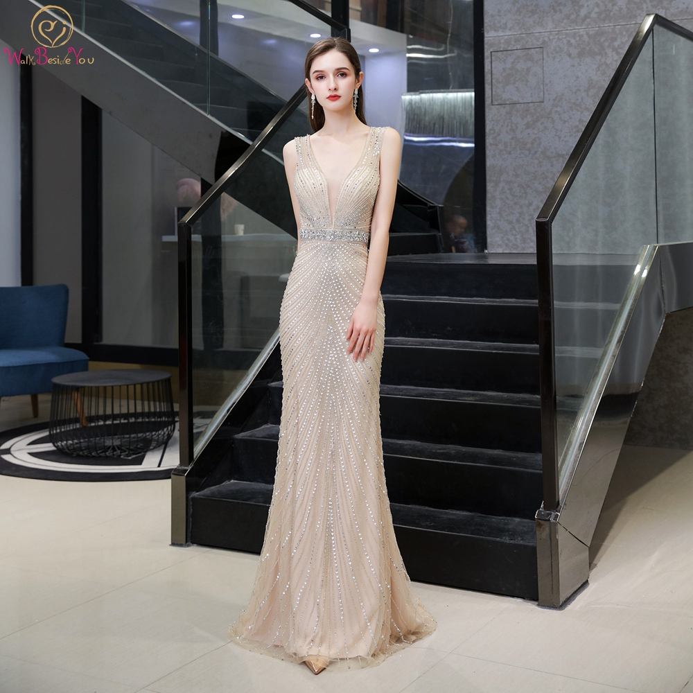 Champagne Evening Dresses 2020 Gray Beading Sequined Long Mermaid Sleeveless Deep V Neck Sweep Train Prom Gowns Backless Luxury