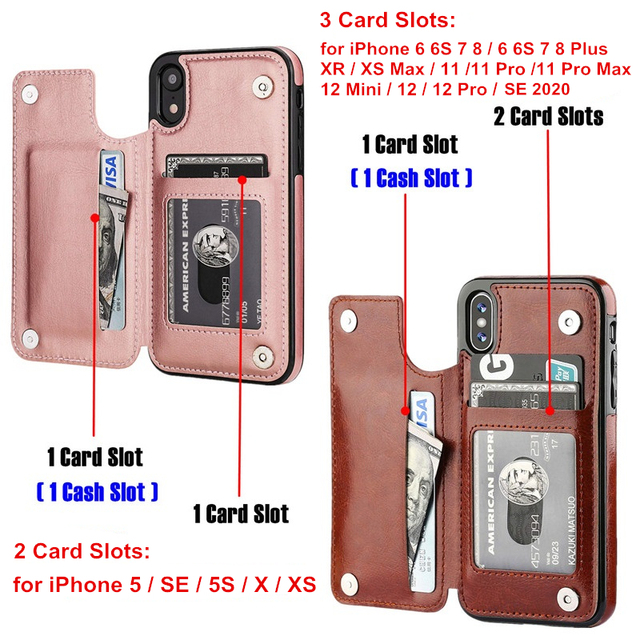 Luxury Slim Fit Premium Leather Cover For iPhone 11 12 mini Pro XR XS Max X 6 6s 7 8 Plus Wallet Card Slots Shockproof Flip Case 6