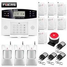 Домашняя охранная сигнализация, металлический пульт дистанционного управления, голосовые подсказки, беспроводной дверной датчик, ЖК-дисплей, проводная сирена, комплект SIM SMS GSM сигнализация