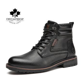 DECARSDZ męskie buty 2021 modne buty męskie wygodne krowy męskie buty oryginalne skórzane męskie buty wysokiej jakości męskie buty buty Casual tanie i dobre opinie Buty śniegu CN (pochodzenie) Prawdziwej skóry Skóra bydlęca ANKLE Stałe Dla dorosłych Krótki pluszowe Okrągły nosek