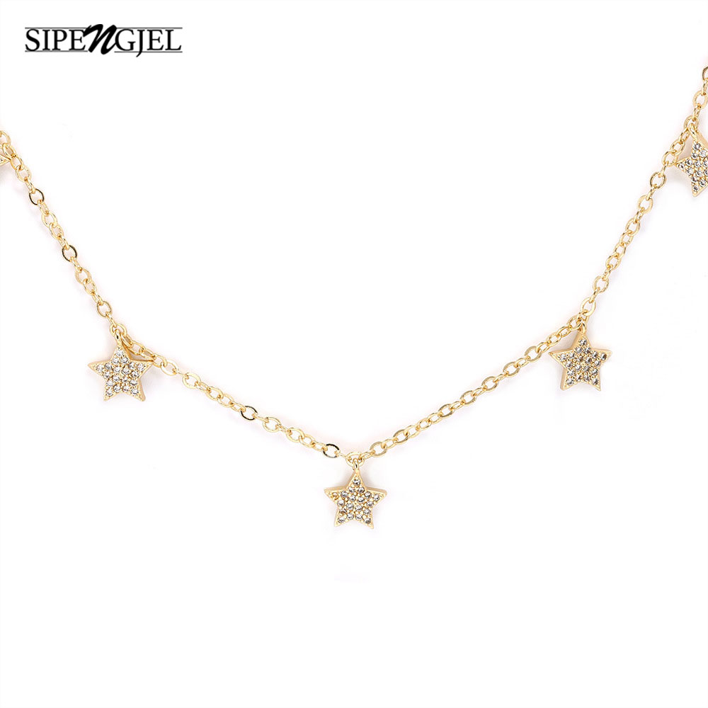 SIPENGJEL Vintage Multilayer Star Pendant Necklace Hiphop Charm Stars Chokers Necklaces For Women Fashion Jewelry Punk Gift 2021