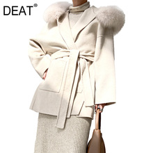 Jacket Pocket-Waist-Belt Wool Winter New Fur DEAT WO51012 Two-Side Turn-Down-Collar Confortable