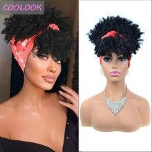 Perucas de cabelo encaracolado profundo de fibra sintética de alta temperatura com cachecol perucas de cabelo encaracolado para mulheres negras 10 Polegada afro kinky curly wrap wig