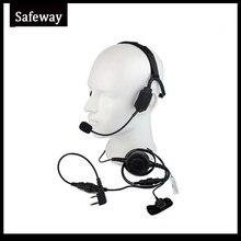 سماعات رأس تكتيكية توصيل عظمة عسكرية مع ميكروفون بوم لراديو كينوود باوفينج UV 5R Wouxun اتجاهين