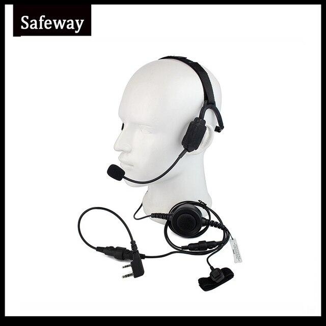 Auriculares tácticos militares de conducción ósea con micrófono de brazo Para Kenwood Baofeng UV 5R Wouxun, Radio bidireccional