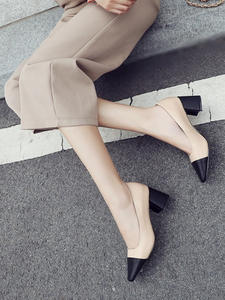 Pumps Thick-Heel-Shoes Elegant Women Ladies Spring Square-Toe Mixed-Colors 6cm-Height