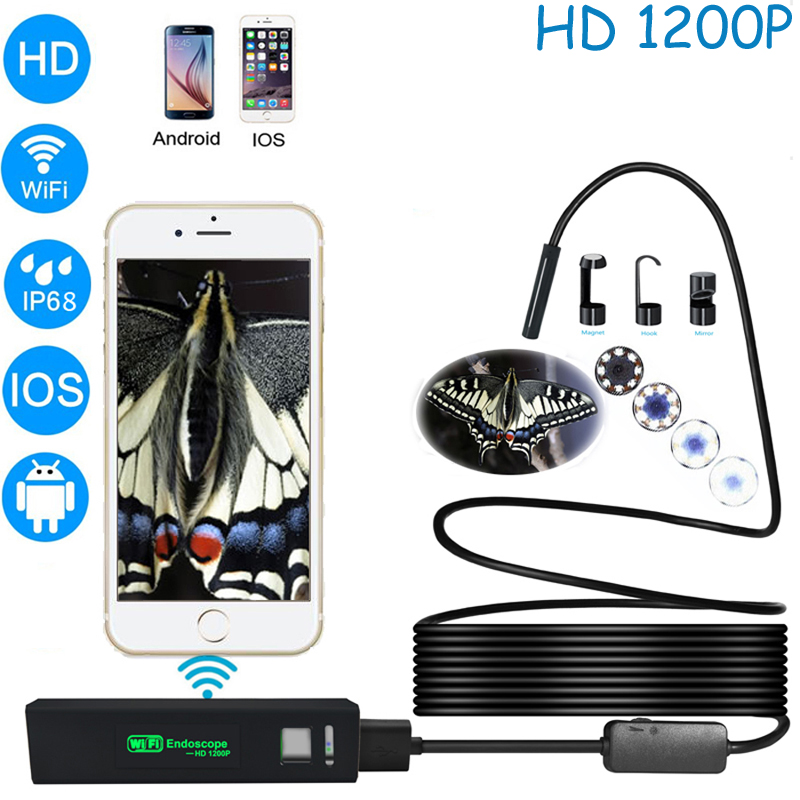 Wireless WIFI Endoscope Camera Waterproof Inspection Mini Camera 8mm USB Endoscope Borescope For Iphone Android PC IOS APP