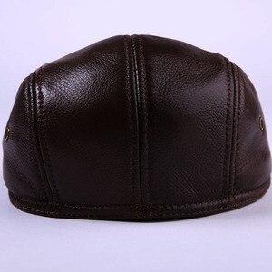 Image 3 - 2020 yepyeni erkek gerçek hakiki deri şapka beyzbol şapkası marka Newsboy/bere şapka kış sıcak caps şapka inek derisi kap