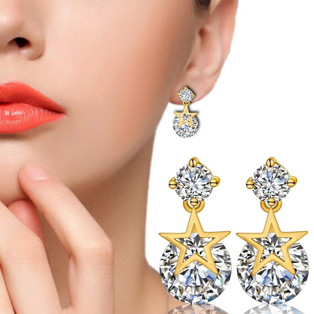 Pentagram Earrings stars Zircon Eternal Star Earring Female Ear Jewelry Gemstone Earrings Dangle  Designer 925 Sterling Silver