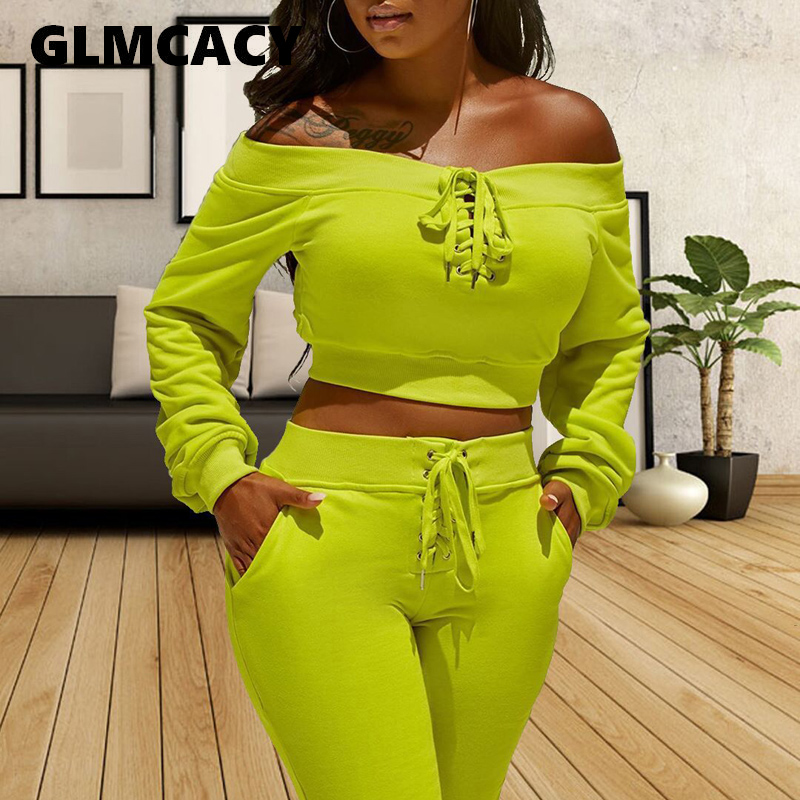 Women Autumn Winter 2 Pieces Tracksuits Long Sleeve Off Shoulder Sweatshirts Tops And Long Jogger Pants Outfits