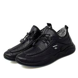 Homem casual veludo sapatos de inverno sapatos de couro masculino deslizamento em mocassins homem tênis de algodão para caminhadas resistente ao desgaste não-deslizamento sapato