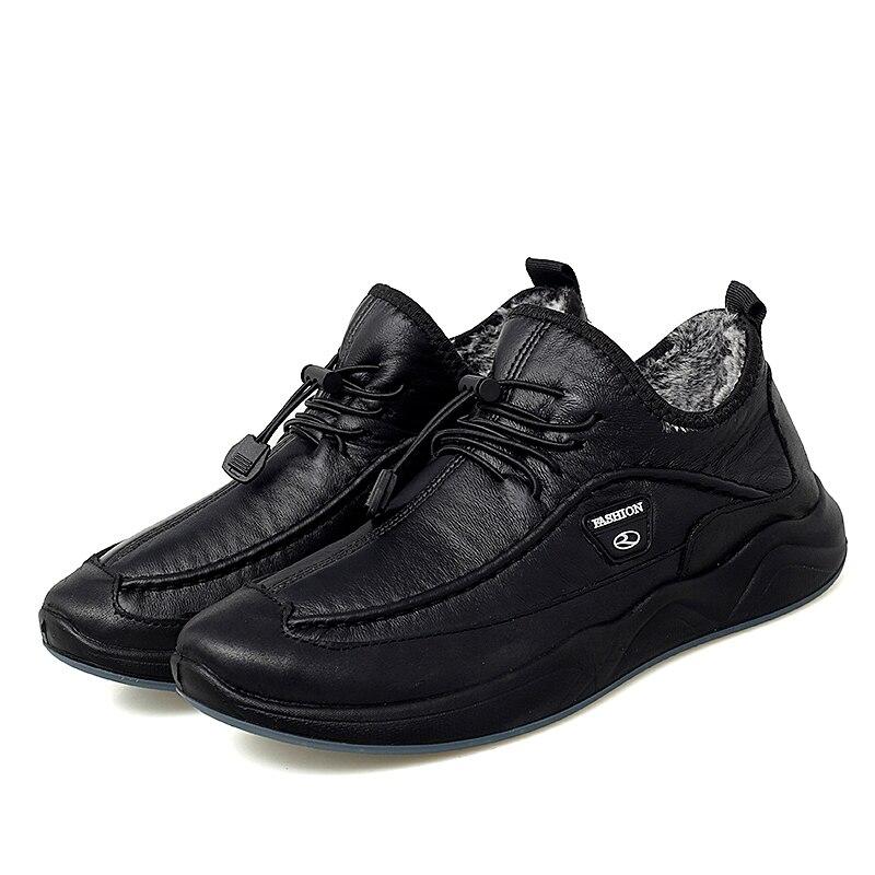 Men Casual Velvet Winter Shoes Men's Leather Slip-on Loafers Man Cotton Sneakers For Walking Hiking Wear-resistant Non-slip Shoe