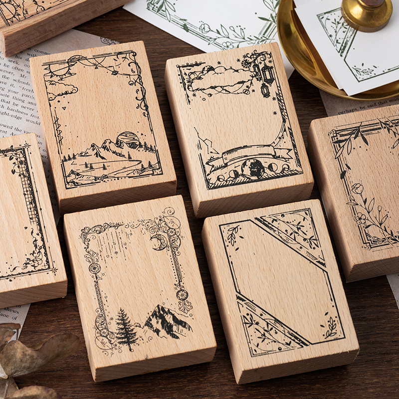 Retro Border Series Decoration Seal Wooden Rubber Stamps For Scrapbooking Stationery DIY Craft Standard Stamp