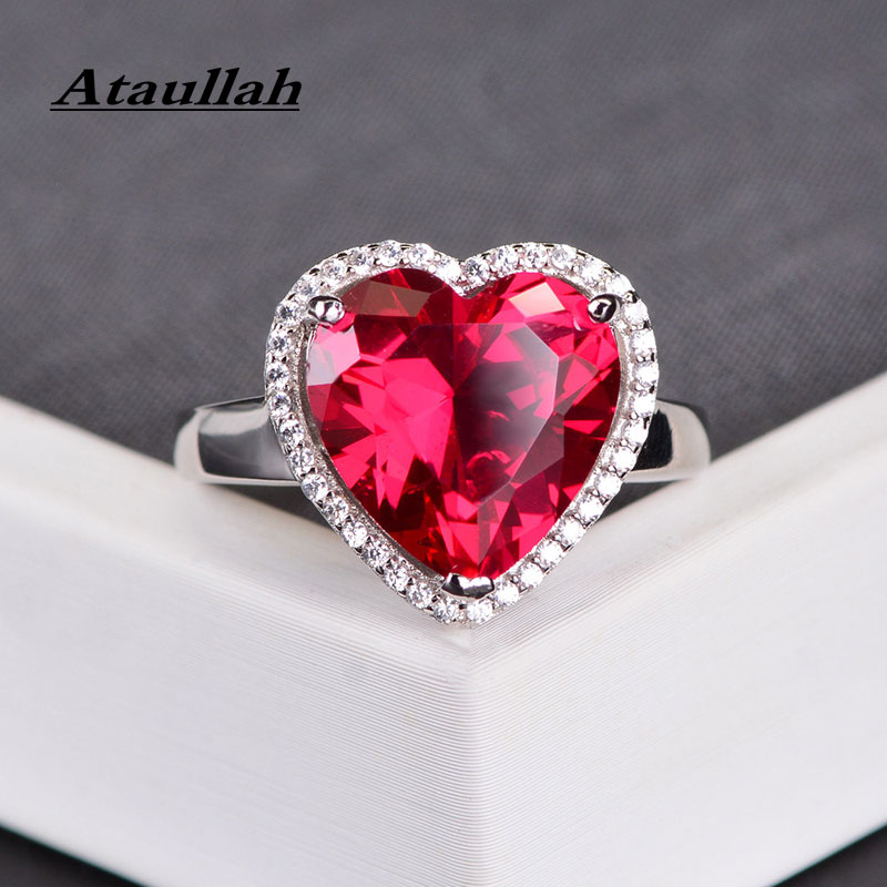 Ataullah élégant amour coeur forme Design anneaux rouge rubis pierre gemme anneau de luxe argent 925 bijoux réglable pour les femmes RW121