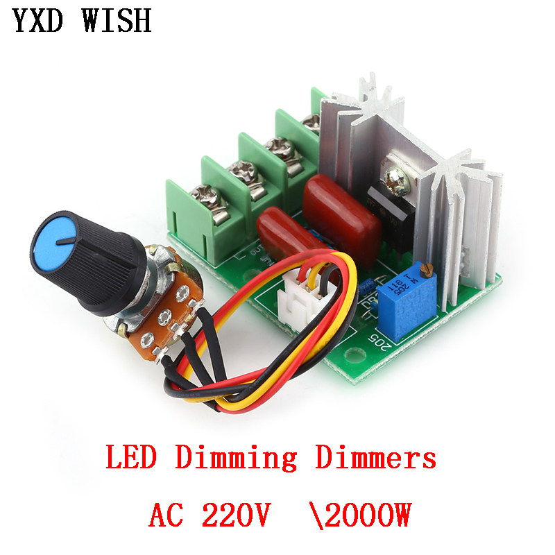 AC 220V SCR Voltage Regulator LED Dimming Dimmers 2000W High Power Motor Speed Controller Governor Module W/ Potentiometer