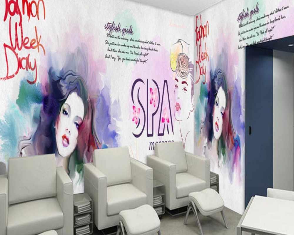 Dropship Custom 3D Beauty Nail Winkel Behang Handgeschilderde Aquarel Mooie Cosmetica Schoonheidssalon Achtergrond Muurschildering