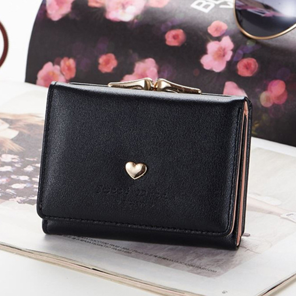 Women PU Leather Clutch Purse Portable Coin Pocket Snap Closure Wallet Card Holder Short Metal Frame Tri-fold Gift Love Heart