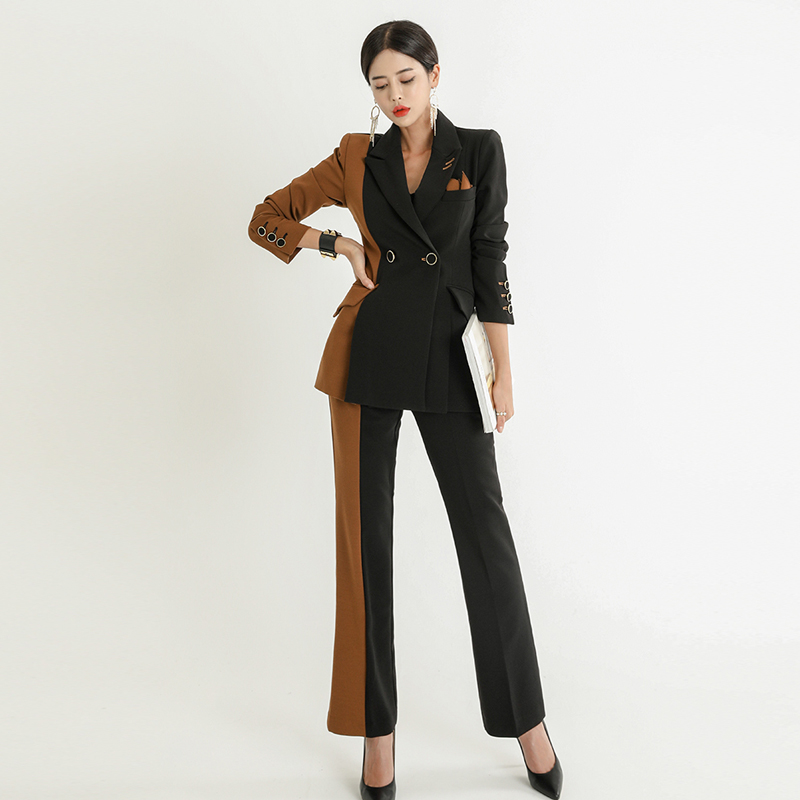 Women Suit Set Professional Suit Black Stitching Brown Casual Contrast Color Suit Fashion Straight Trousers 2 Piece Set Women