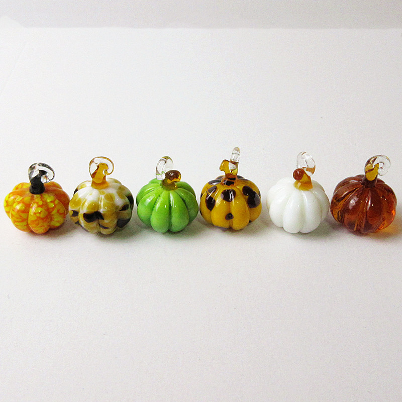 6pcs Custom Handmade Murano Glass Pumpkin Ornaments Pendant Halloween Hanging Home Decoration Miniature Craft Statue Accessories