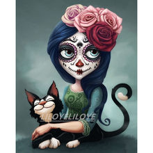 Sugar Cat Skull Girl Painting Rhinestones Diy 5d Full Diamond Painting Embroidery Mosaic Needlework Fun Gift Decor Crafts FG1315(China)