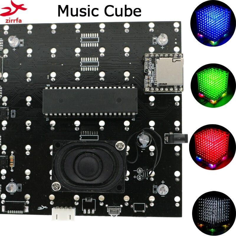 New 3D 8S 8x8x8 Mini Mp3 Music Light Cubeeds Kit Built-in Audio Spectrum Remote Switch Model  Led Electronic Diy Kit