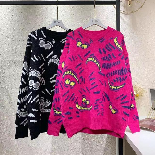 Streetwear Sweater Women 2020 Autumn Winter Cartoon Leopard Printed Covering Yarn Casual Oversized Knitted Black Pullover Sweate