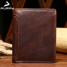 AURAY Rfid Mens Wallet Leather Genuine Men Leather Wallet Vintage Wallets Luxury Man Money Bag Wallet Coin Purse Card Holder