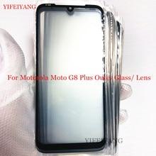 Pantalla frontal exterior de reemplazo de lentes de vidrio, pantalla táctil LCD funda para Motorola Moto G8 Plus, 10 Uds.